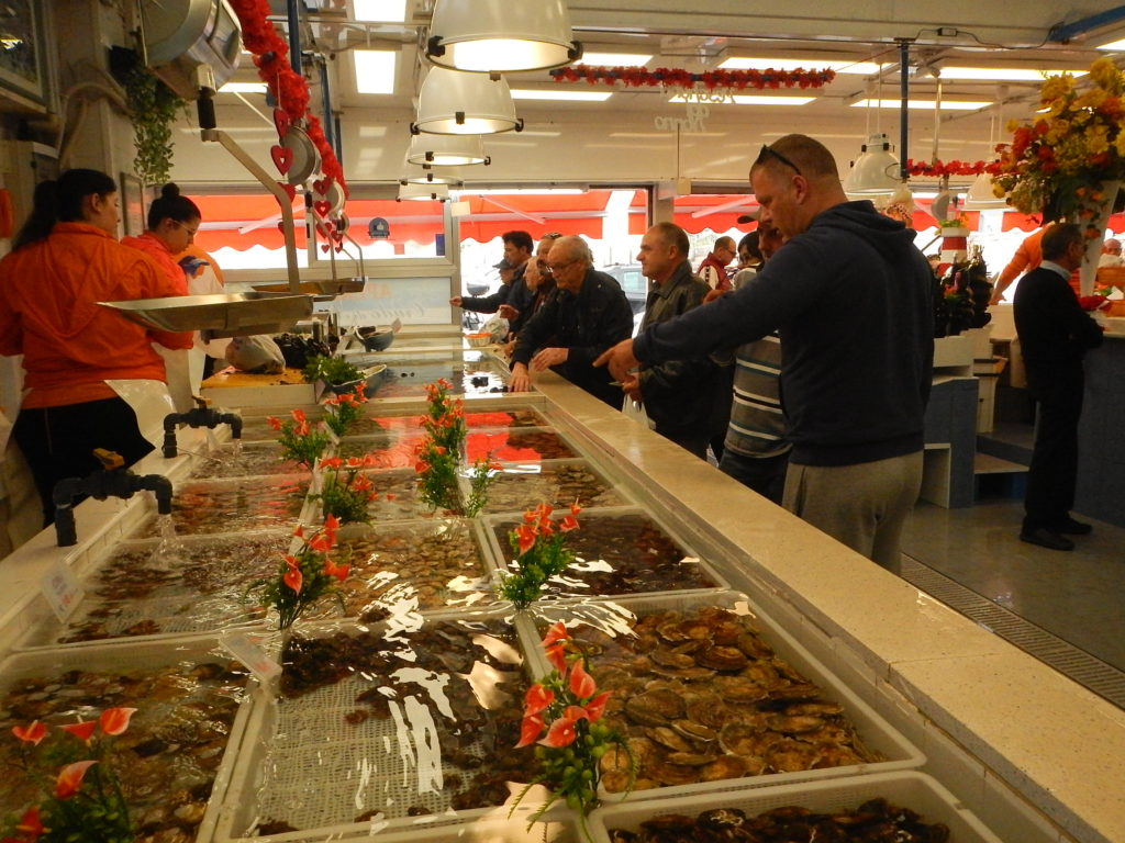 Visit of a seafood market near Bari, during the excursion in Italy